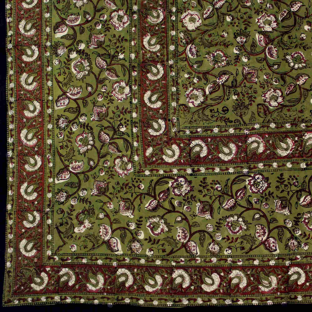 Hand Block Print Dabu Tapestry Rectangular Floral Twin Saffron Green Orange