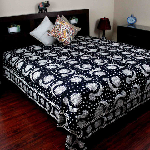 Handmade 100% Cotton Celestial Sun Moon & Star Tapestry Coverlet Black White Full & Queen - Sweet Us