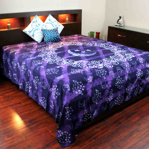 Handmade Celestial Batik Cotton Tapestry Spread Queen King Purple 108 x 108 inch - Sweet Us