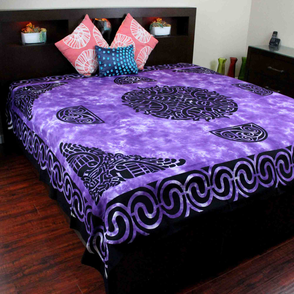 Celtic Flame Tapestry Cotton Spread Dorm Throw Beach Sheet Purple 88 x 104 inch - Sweet Us