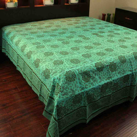 Cotton Floral Blossom Tapestry Tablecloth Spread Twin Queen Purple Teal Green