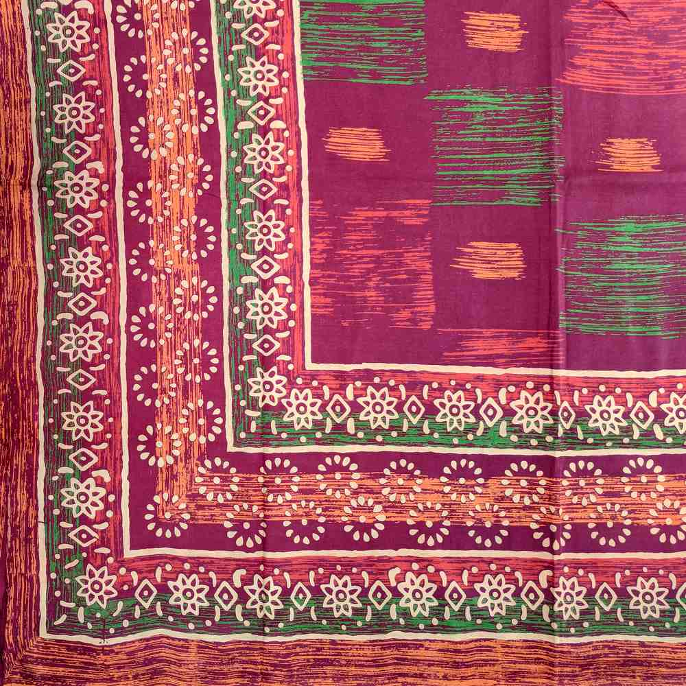 Cotton Block Print Tapestry Tablecloth Spread Twin Full Queen Burgundy Green - Sweet Us