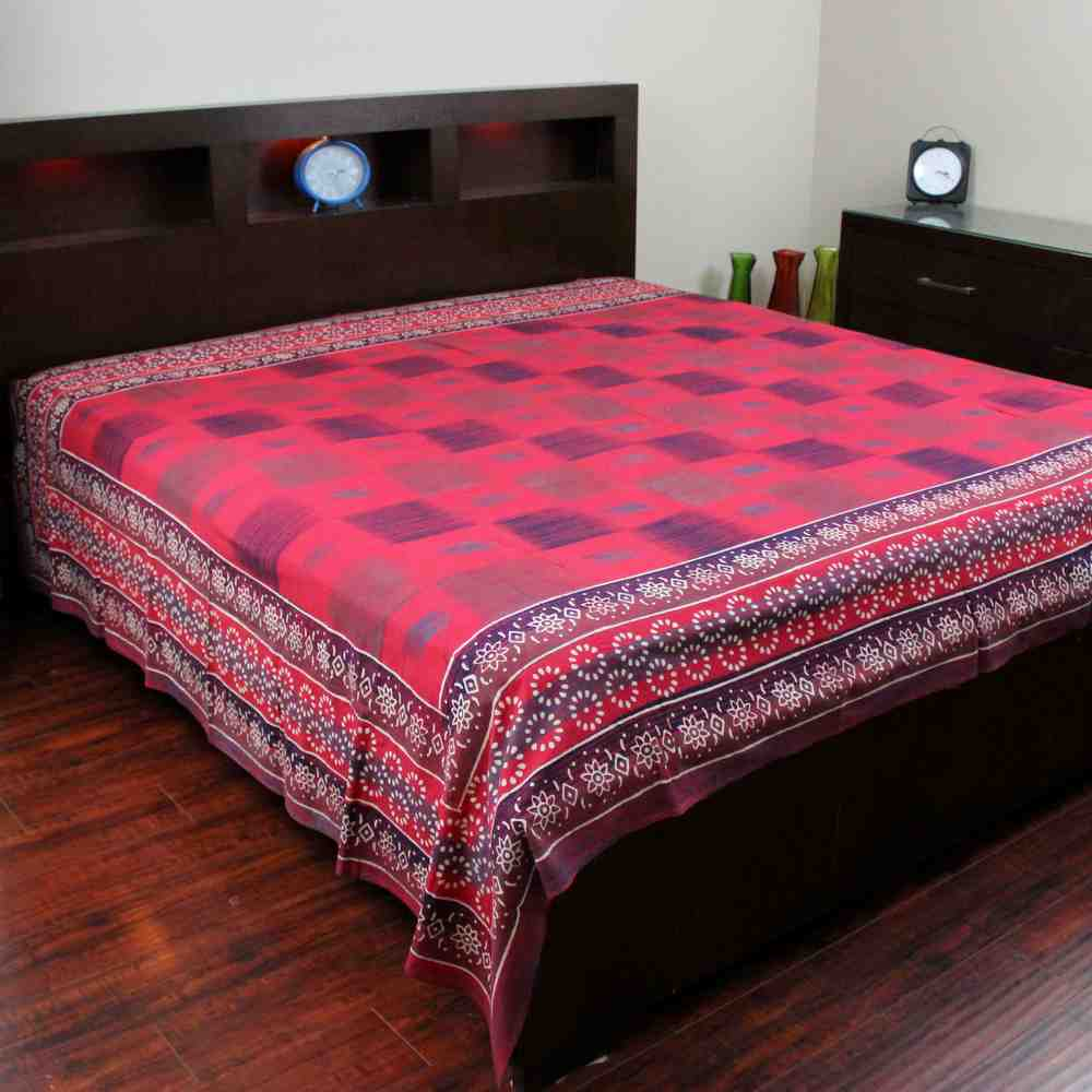 Cotton Block Print Tapestry Tablecloth Bedspread Throw Twin Full Queen Red