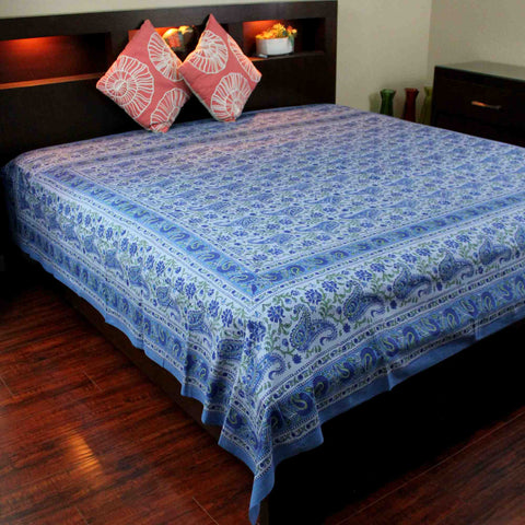 Cotton Rajasthan Paisley Floral Tapestry Block Print Tablecloth Spread Twin Full - Sweet Us