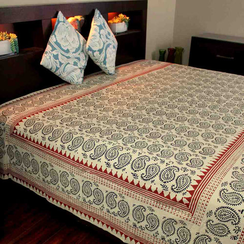 Cotton Block Print Paisley Floral Tapestry Wall Hanging Tablecloth Bedspread Twin
