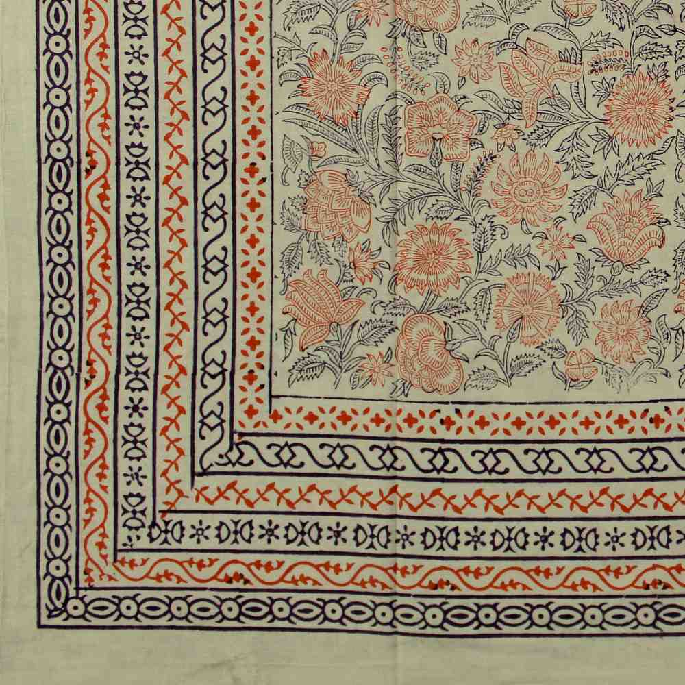 Block Print Tapestry Wall Hang Cotton Floral Tablecloth Bedspread Blue Pink Full - Sweet Us