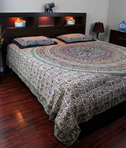 Cotton Reversible Duvet Cover Mandala Kalamkari Paisley Twin Full Queen King - Sweet Us