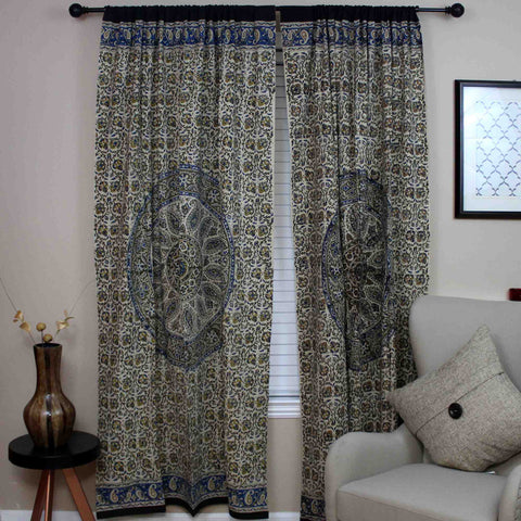 Kalamkari Block Print Curtain Paisley Floral Mandala Drape Panel 46 x 88 inches - Sweet Us