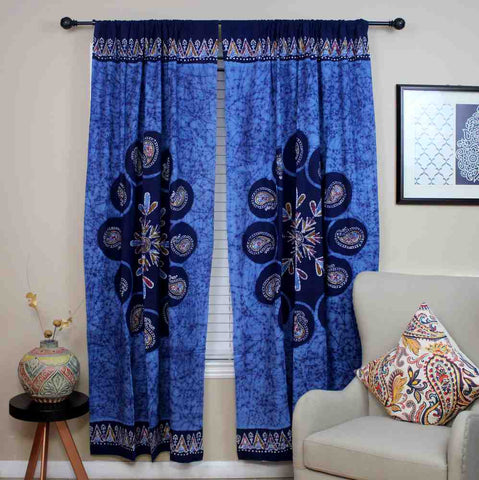 Cotton Multi Batik Floral Mandala Block Print Curtain Drape Blue Green 47x85 - Sweet Us