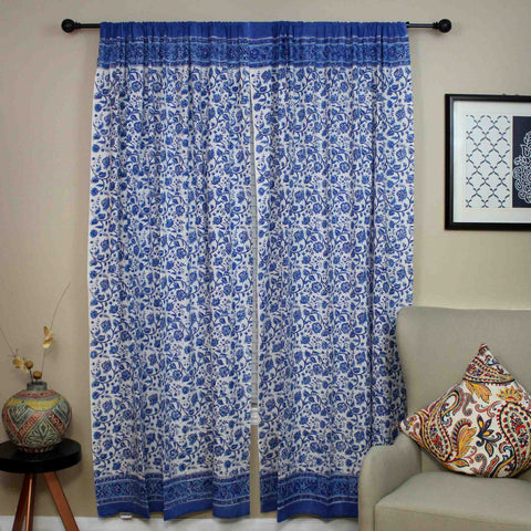 Handmade Cotton Rajasthan Block Floral Print Curtain Drape Panel Blue 46x88 - Sweet Us