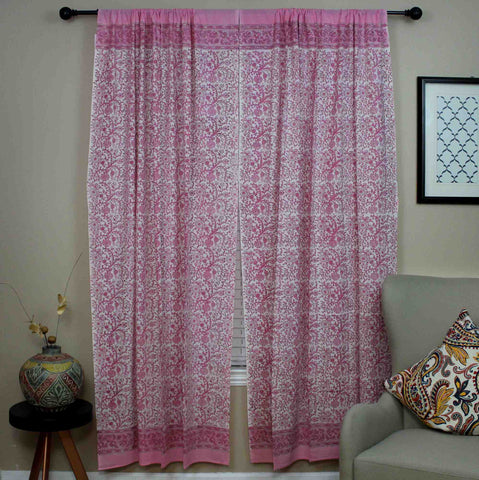 Handmade Cotton Rajasthan Block Floral Print Curtain Drape Panel Pink 46x85 Inches - Sweet Us
