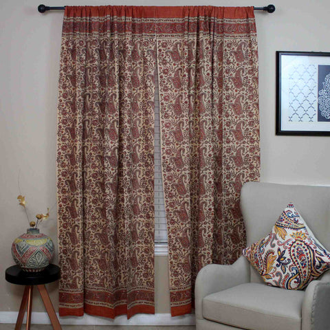 Handmade Cotton Rajasthan Paisley Floral Print Curtain Drape Panel Coral Peach 47x85 - Sweet Us