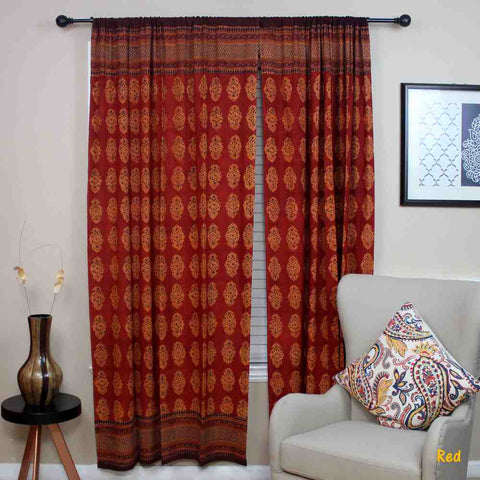 Cotton Kensington Hand Block Print Curtain Drape Door Panel 46x88 - Sweet Us