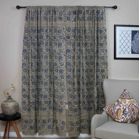 Handmade Cotton Block Print Veggie Dye Curtain Panel Cotton 46x84 Blue