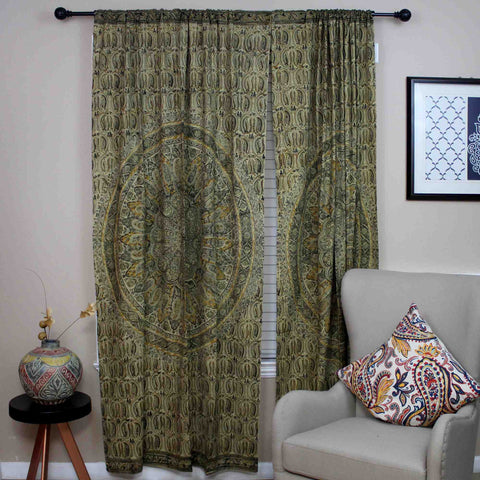 Cotton Mandala Floral Block Print Veggie Dye Curtain Panel 46x84 Olive Green - Sweet Us