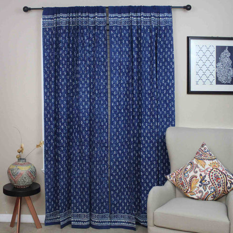 Block Print Dabu Cotton Floral Curtain Drape Panel 46x88 Indigo Blue - Sweet Us