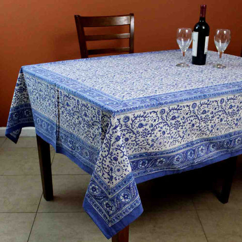 Floral Block Print Cotton Round Tablecloth Rectangle 60x90 Blue White Squ Linen - Sweet Us
