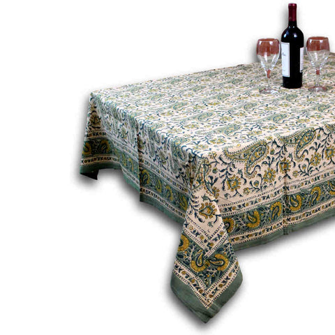 Floral Block Print Cotton Round Tablecloth Rectangle 60x90 Green Yellow Sq Linen - Sweet Us