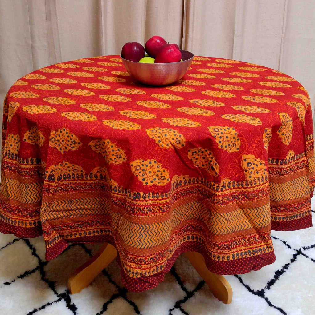 Cotton Kensington Block Print Tablecloth Rectangular Round Square Napkins Rust - Sweet Us