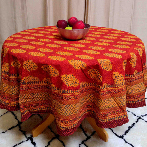 "Handmade Cotton Kensington Block Print Tablecloth Rust Brown 72"" Round 60x90 60x60 Napkins - Sweet Us"