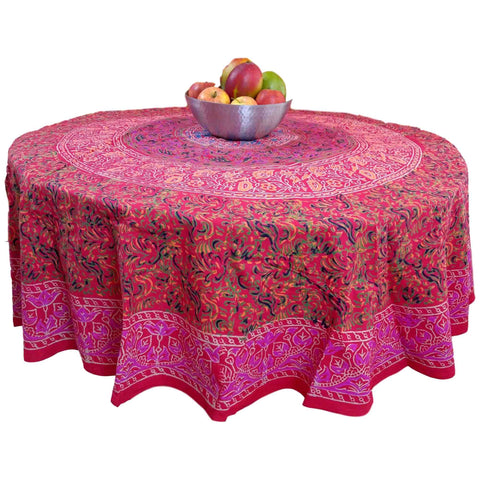 Sanganer Floral Mandala Cotton Red Tablecloth Round Rectangular Square Napkins Placemats