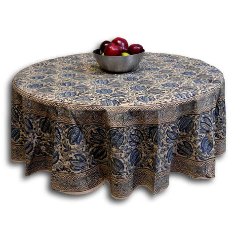 Vegetable Dye Hand Block Print Round Tablecloth Rectangle Cotton Blue Table Linen - Sweet Us