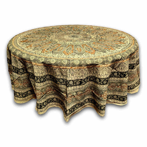 Cotton Vegetable Dye Hand Block Print Mandala Round Tablecloth Rectangular Linen