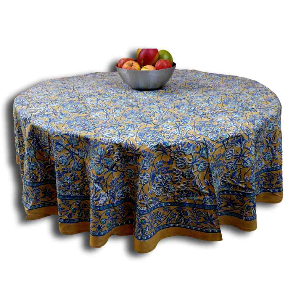 Floral Berry Block Print Cotton Round Tablecloth Rectangular Brown Square Linen - Sweet Us