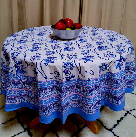 Floral Block Print Tablecloth Rectangular 60 x 90 inches Cotton Blue Round Square Table Linen