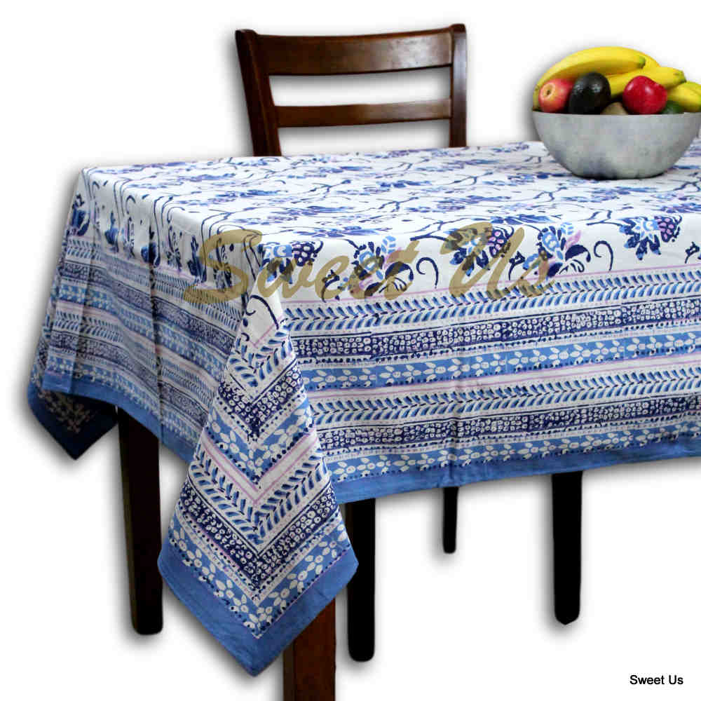 Block Print Floral Tablecloth for Rectangle Square Round Table Cotton Blue Pink - Sweet Us