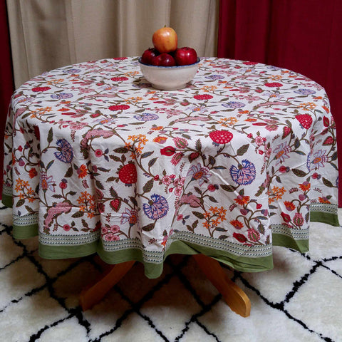 Floral Block Print Cotton Round Tablecloth Rectangle 60x90 Green White Red Linen - Sweet Us