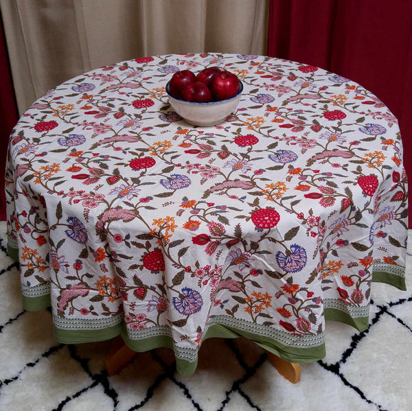 Cotton Floral Tablecloth Rectangular Round Square Runner