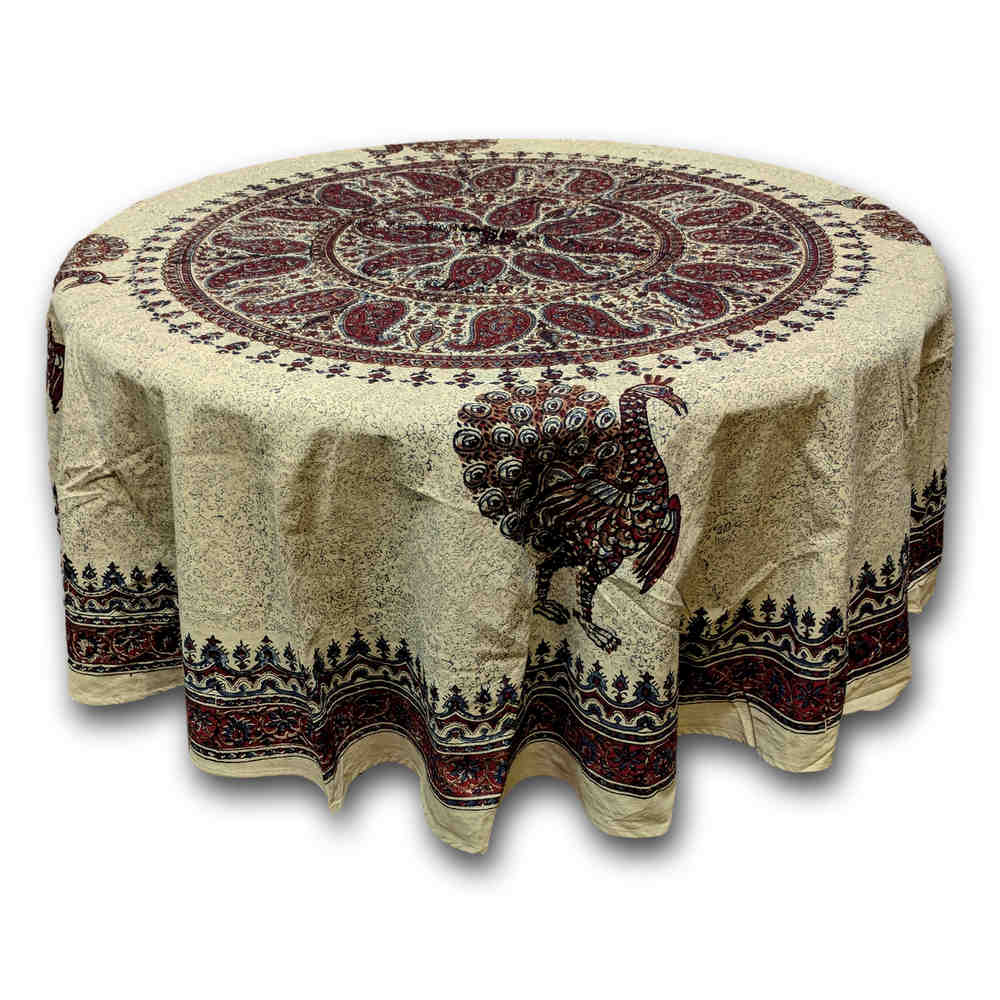 Paradise Paisley Peacock Hand Block Print Cotton Tablecloth Rectangular, Round, Square