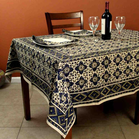 Block Print Cotton VEGGIE DYE Geometric Tablecloth Rectangle Square Round Green - Sweet Us