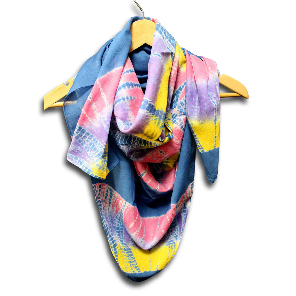 Scarf for Women Soft Sheer Cotton Tie Dye 42 x 42 inches Pink Turquoise Blue - Sweet Us