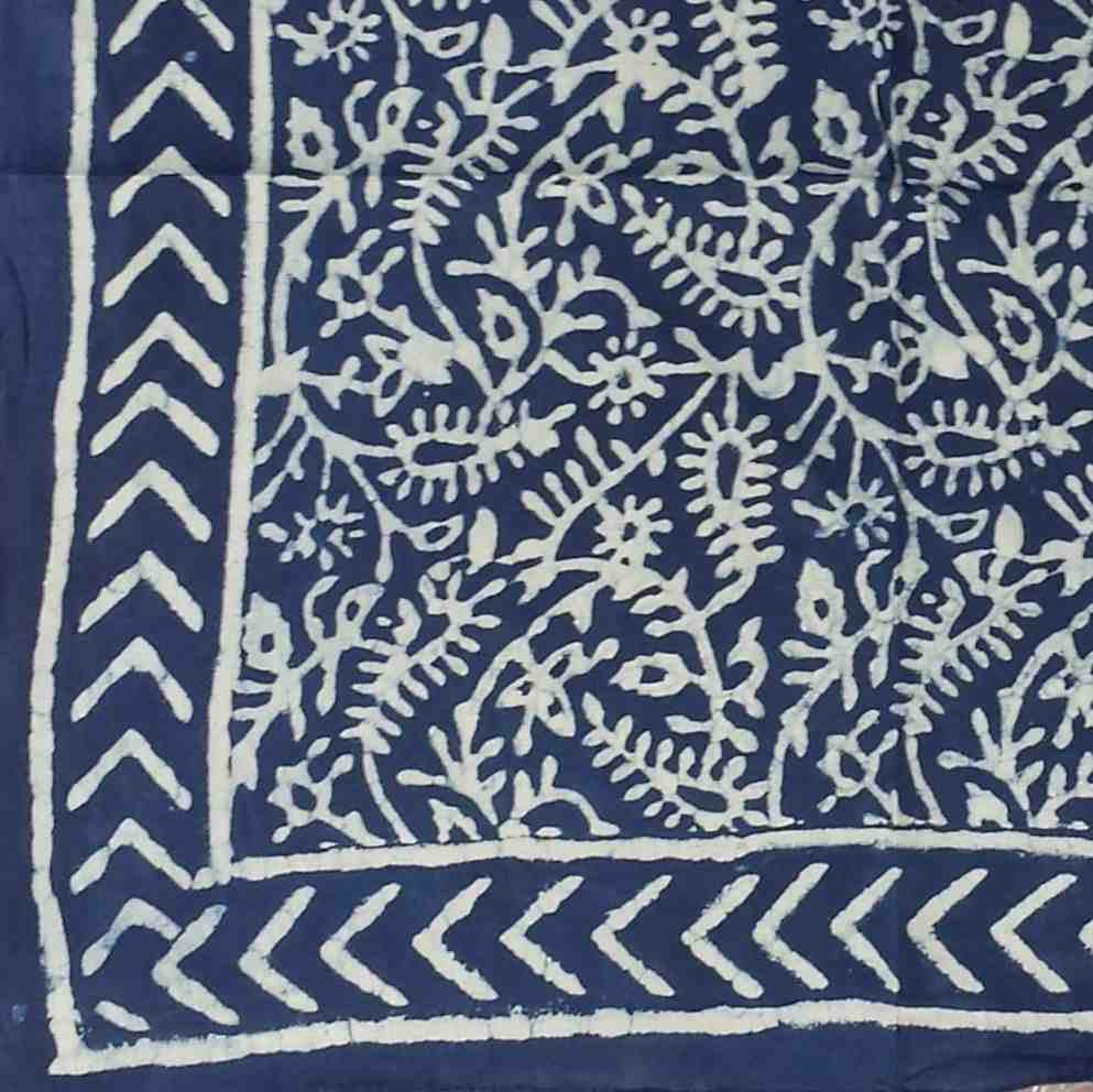 Handmade 100% Cotton Dabu Block Print Scarf 42x42 Inch Royal Blue Gorgeous - Sweet Us