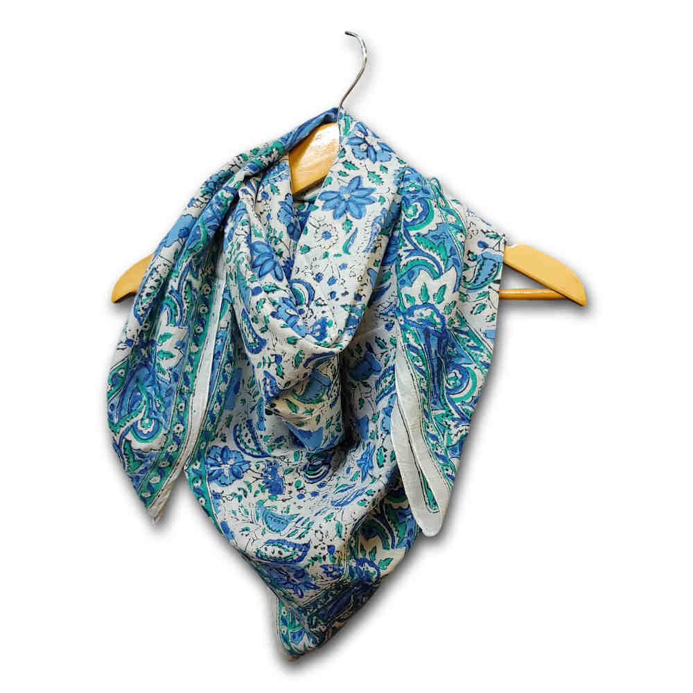 Large Cotton Block Print Summer Scarf for Women Lightweight Soft Sheer Blue Green - Sweet Us