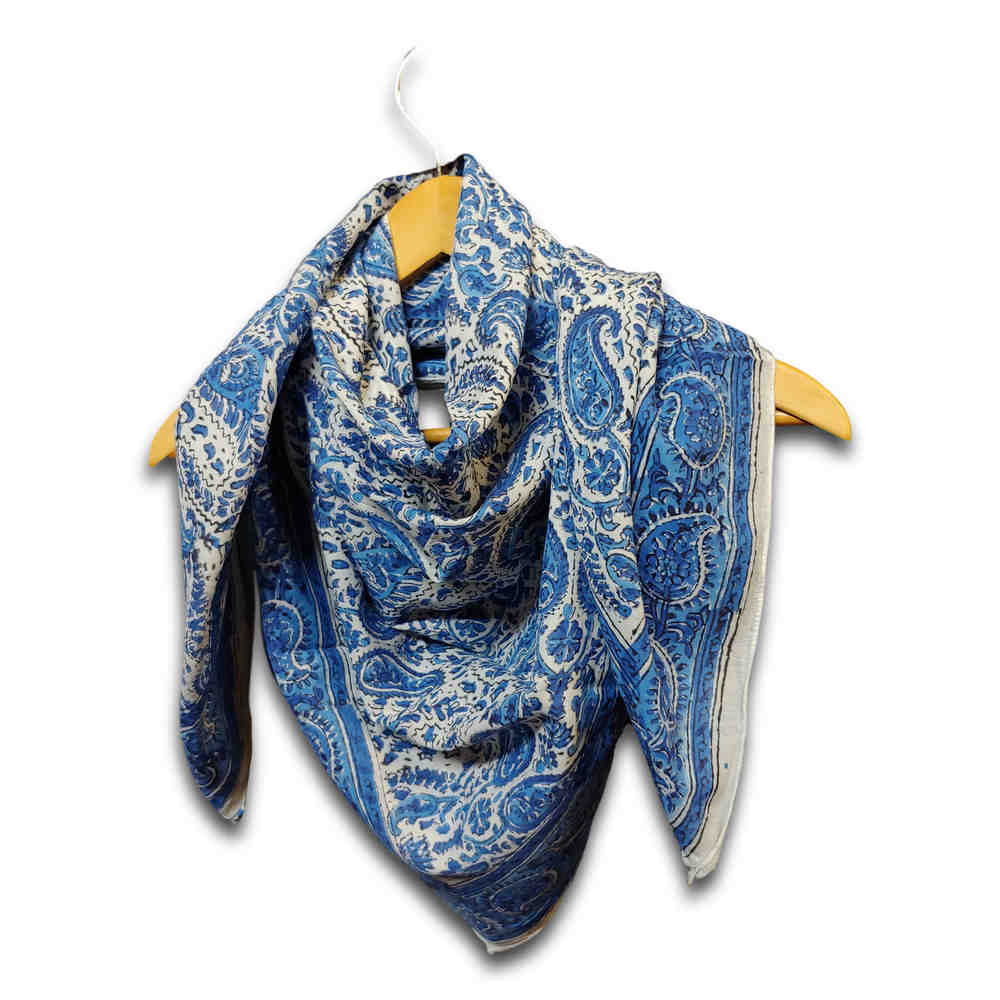 Large Cotton Block Print Summer Paisley Scarf for Women Lightweight Soft Blue - Sweet Us