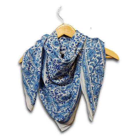 Large Cotton Block Print Summer Scarf for Women Lightweight Soft Sheer Blue - Sweet Us