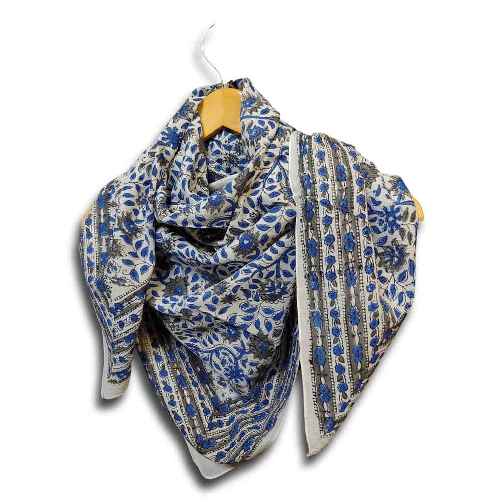 Large Cotton Block Print Summer Scarf for Women Lightweight Soft Sheer Blue Gray - Sweet Us