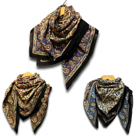 Large Cotton Block Print Summer Scarf for Women Light Floral Soft Red Blue Green - Sweet Us