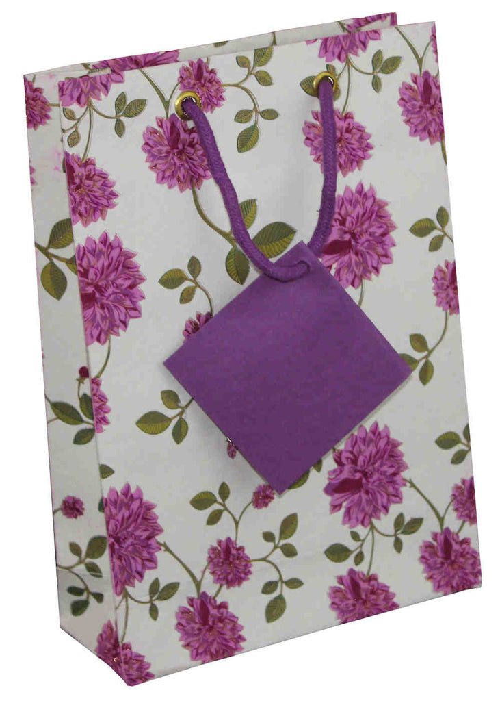Handcrafted Recycled Paper Floral Gift Bags with Gift Tag Set of 6 Purple White - Sweet Us