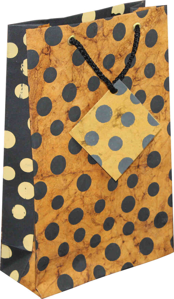 Handcrafted Recycled Paper Polka Dot Gift Bags w/ Gift Tag Set of 6 Brown Black - Sweet Us