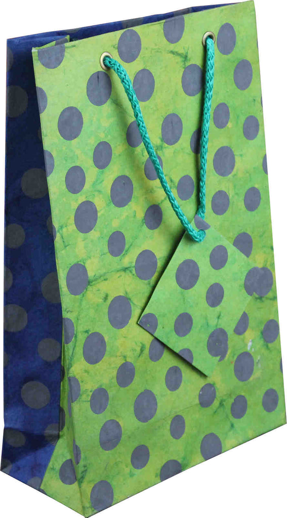 Handcrafted Recycled Paper Polka Dot Gift Bags w/ Gift Tag Set of 6 Green Blue - Sweet Us