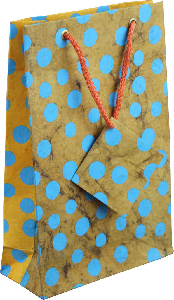 Handcrafted Recycled Paper Polka Dot Gift Bags w/ Gift Tag Set of 6 Yellow Brown - Sweet Us
