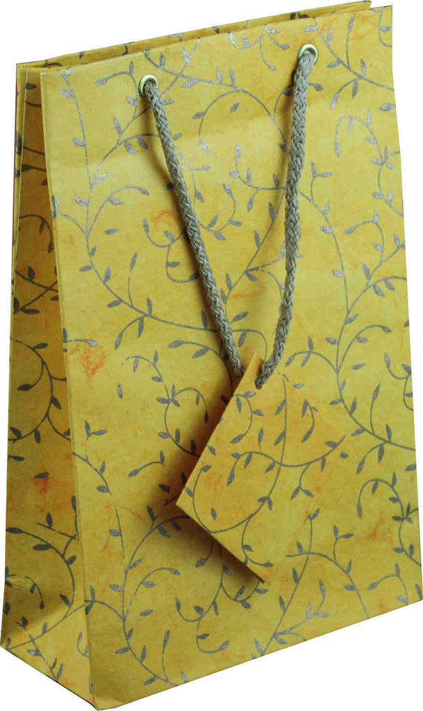 Handcrafted Recycled Paper Floral Vine Gift Bags w/ Gift Tag Set of 6 Yellow - Sweet Us