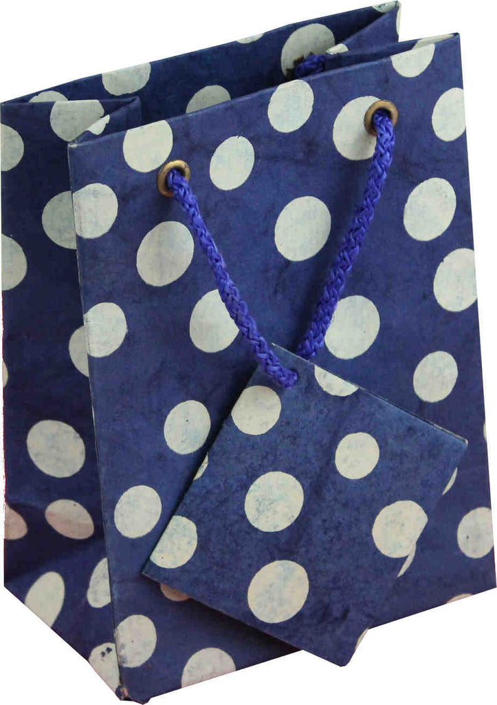 Handcrafted Recycled Paper Polka Dot Gift Bags w/ Gift Tag Set of 6 Blue White - Sweet Us