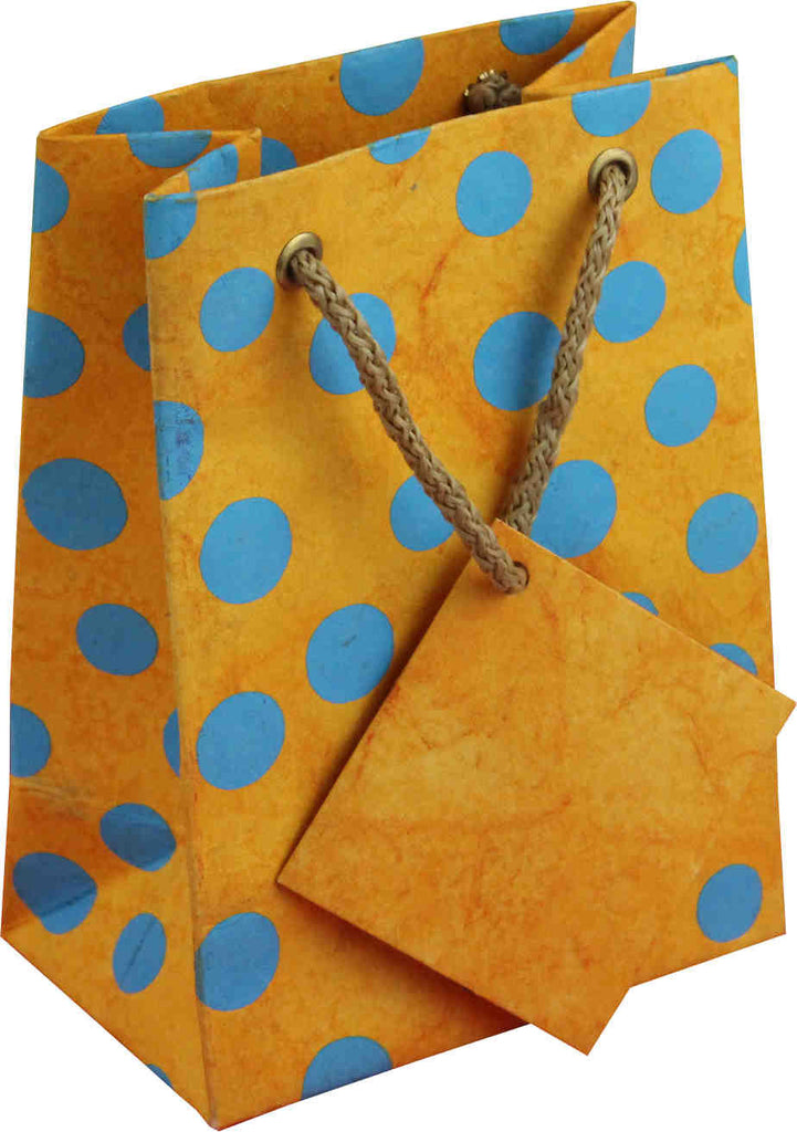 Handcrafted Recycled Paper Polka Dot Gift Bags w/ Gift Tag Set of 6 Yellow Blue - Sweet Us