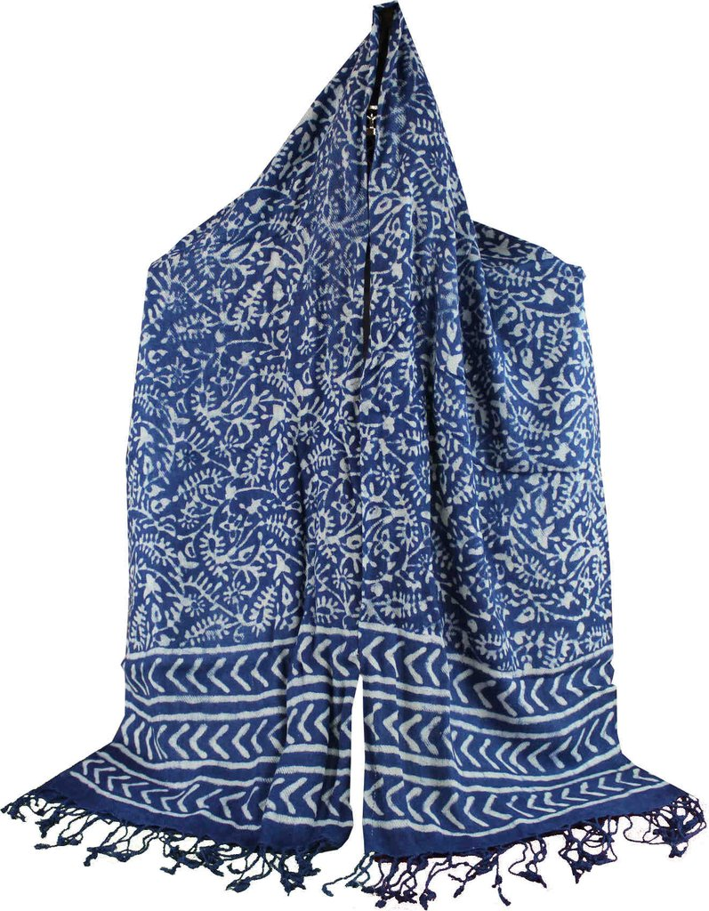 Large Scarf for Women Lightweight Soft Sheer Dabu Floral Shawl Stole Indigo Blue - Sweet Us