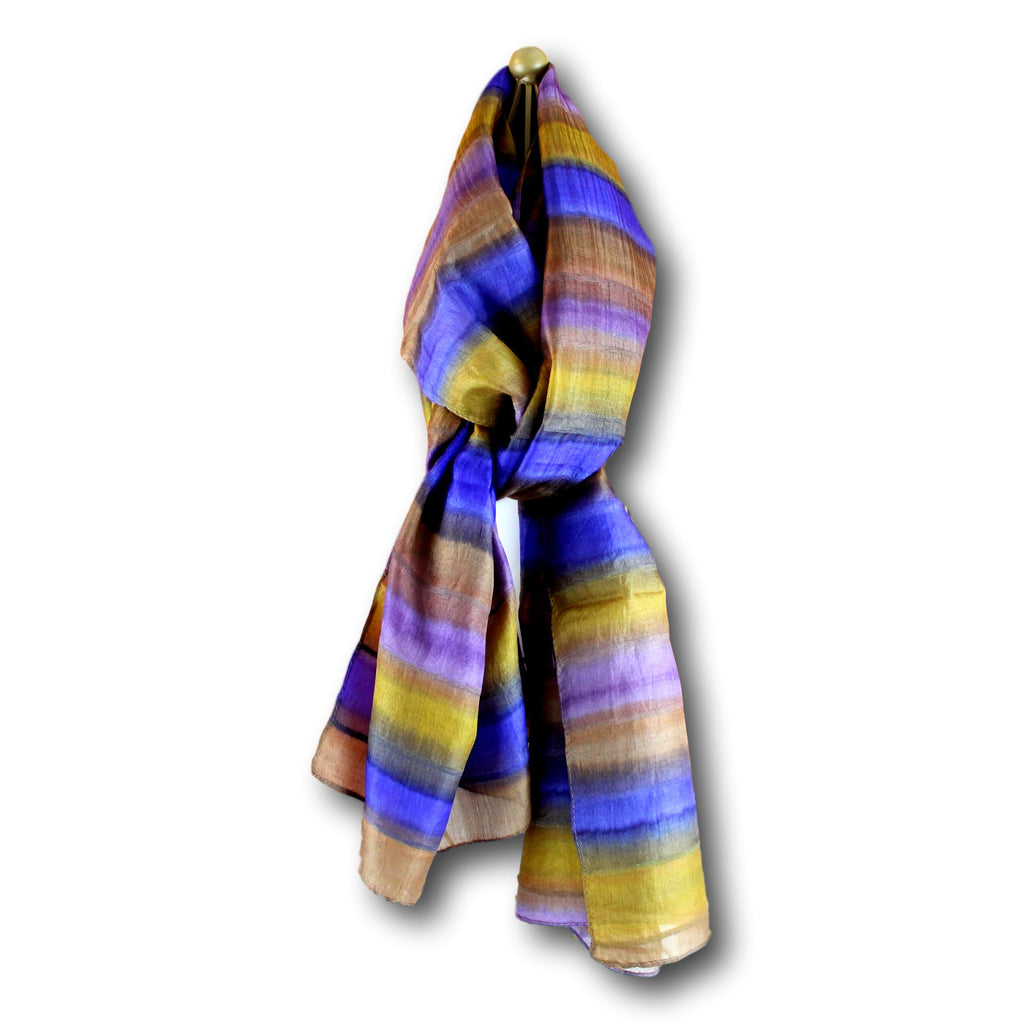 Handmade 100% Silk Ribbed with Stripes Scarf Shawl 20x70 Inches Copper Blue